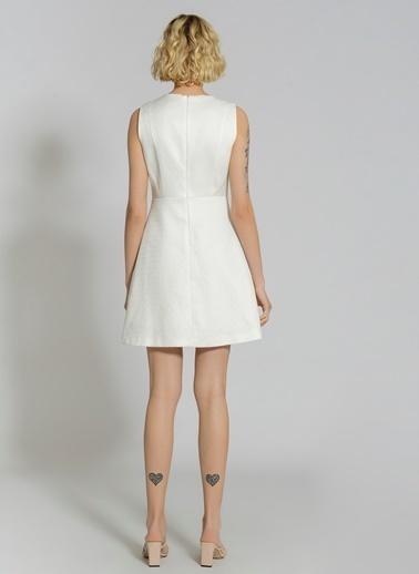 People By Fabrika Jakarlı Abiye Elbise Beyaz